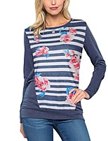 Women's Holiday Going out Casual/Daily Vintage Boho Street chic Spring Fall T-shirt,Striped Floral Round Neck Long Sleeves Polyester