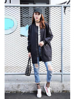 Women's Going out Casual/Daily Simple Street chic Spring Fall Trench Coat,Solid Letter Stand Long Sleeve Long Others
