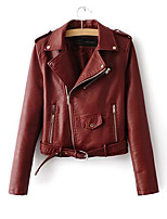 Women's Holiday Punk & Gothic Fall Winter Leather Jacket,Solid Shirt Collar Long Sleeve Regular Others