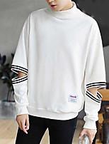 Men's Casual/Daily Sweatshirt Striped Print Turtleneck Micro-elastic Polyester Long Sleeve Fall