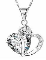 Femme Pendentif de collier Forme de Coeur Strass Alliage Amour Bijoux Pour Mariage Anniversaire