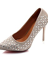 Women's Shoes PU Summer Comfort Heels Kitten Heel Pointed Toe Sparkling Glitter For Casual Dress Silver Black Gold