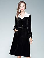 Damen Swing Kleid-Ausgehen Lässig/Alltäglich Street Schick Solide Hemdkragen Knielang Langarm Polyester Herbst Hohe Hüfthöhe