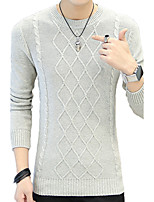 Men's Plus Size Casual/Daily Regular Pullover,Striped Round Neck Long Sleeves Cotton Fall Winter Medium Micro-elastic