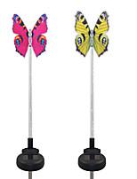 2PCS Solar Fiber Optic White/Color-Changing Garden Stake Light-Butterfly