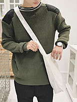 Men's Work Simple Regular Pullover,Print Round Neck Long Sleeves Cotton Fall Medium Micro-elastic