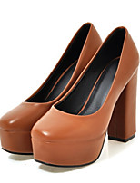 Women's Shoes PU Spring Fall Comfort Novelty Heels Chunky Heel Round Toe For Wedding Party & Evening Brown Beige Black