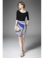 Women's Going out Cute Fall T-shirt Skirt Suits,Color Block Round Neck Half Sleeves Micro-elastic