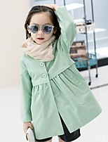 Girls' Solid Jacket & Coat,Polyester Fall All Seasons Long Sleeve