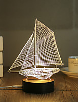 1 Set, Popular Home Acrylic 3D Night Light LED Table Lamp USB Mood Lamp Gifts, Sailing