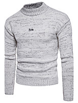 Men's Going out Casual/Daily Simple Cute Street chic Regular Pullover,Solid Round Neck Long Sleeves Cotton Polyester Fall Winter Medium