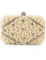 Damen Taschen Ganzjährig Polyester Abendtasche Kristall Verzierung Perlen Verzierung für Hochzeit Veranstaltung / Fest Champagner Weiß