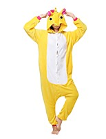 Kigurumi Pajamas Unicorn Leotard/Onesie Festival/Holiday Animal Sleepwear Halloween Yellow Animal Flannel Kigurumi For Unisex Halloween