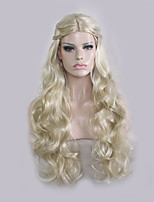 Women Synthetic Wig Capless Long Wavy Natural Wave Blonde Bob Haircut With Bangs Party Wig Halloween Wig Cosplay Wig Costume Wig