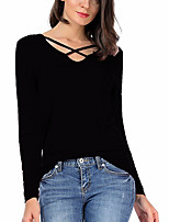 Women's Going out Casual/Daily Sexy Simple Spring Fall T-shirt,Solid V Neck Long Sleeves Modal Medium