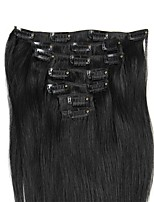 Double Weft Real Human Hair Clip in Extensions 14-24Inch Grade 8A Full Head Silky Straight for Women Beauty