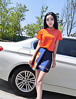 Women's Casual/Daily Simple Summer T-shirt Skirt Suits,Solid Print Round Neck Short Sleeve Micro-elastic