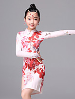 Latin Dance Dresses Children's Ice Silk Pattern/Print 1 Piece Long Sleeve Dress