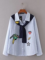 Women's Going out Casual/Daily Simple Cute Street chic Spring Fall Shirt,Solid Print Shirt Collar Long Sleeves Linen Medium