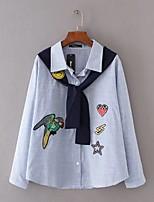 Camicia Da donna Per uscire Casual Semplice Romantico Moda città Primavera Autunno,Tinta unita Con stampe Colletto Lino Manica lunga
