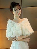 Women's Wrap Capelets Faux Fur Wedding Party/ Evening Crystal Brooch Tassels