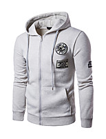 Men's Casual/Daily Simple Hoodie Solid Hooded Micro-elastic Polyester Long Sleeve Spring Fall