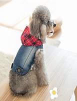 Chien Vestes en Jean Gilet Vêtements pour Chien cow-boy Décontracté / Quotidien Halloween Noël Jeans Bleu Costume Pour les animaux