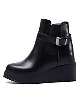 Femme Chaussures Polyuréthane Automne Hiver Confort Bottes Talon Plat Bottine/Demi Botte Boucle Pour Décontracté Noir