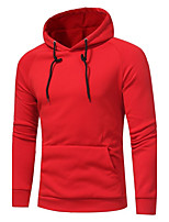 Men's Plus Size Sports Casual/Daily Simple Hoodie Solid Hooded Micro-elastic Cotton Long Sleeve Fall Winter