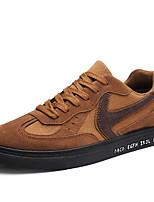 Для мужчин обувь Нубук Дерматин Весна Осень Удобная обувь Кеды Комбинация материалов Назначение Повседневные Черный Коричневый Черно-белый