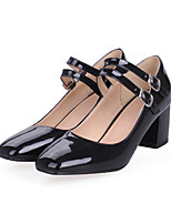 Women's Shoes PU Spring Fall Comfort Novelty Heels Chunky Heel Round Toe Buckle For Office & Career Dress Blue Red Black White