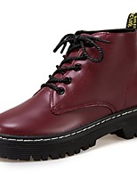 Women's Shoes PU Fall Combat Boots Boots Chunky Heel Round Toe Lace-up For Casual Burgundy Black