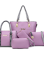 Women Bags All Seasons PU Bag Set Flower(s) Zipper for Formal Office & Career White Black Gray Purple