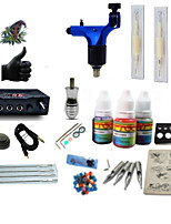 Starter Tattoo Kit 1 rotary machine liner & shader Tattoo Machine LCD power supply 1 × 5ml Tattoo Ink 1 x aluminum grip 2 x disposable