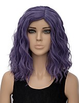 Women Synthetic Wig Capless Short Water Wave Purple Ombre Hair Halloween Wig Costume Wig