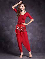 Belly Dance Outfits Women's Performance Modal Pleated 3 Pieces Half Sleeve Natural Tops Pants Waist Accessory