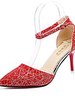 Femme Chaussures Polyuréthane Printemps Eté Confort Semelles Légères Chaussures à Talons Talon Aiguille Bout pointu Boucle Points Polka