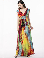 Women's Plus Size Boho Street chic Swing Dress,Print V Neck Maxi Sleeveless Polyester Summer High Rise Micro-elastic Medium