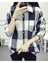 Women's Going out Casual/Daily Simple Fall Shirt,Check Shirt Collar Long Sleeves Cotton Linen Medium