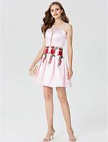 Linea-A Da principessa Con decorazione gioiello Corto / mini Raso Cocktail Vestito con Con applique A pieghe di TS Couture®