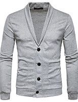 cheap -Men's Daily Solid Turtleneck Cardigan, Long Sleeves Spring Fall