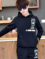 Men's Casual/Daily Hoodie Print Hooded Micro-elastic Cotton Polyester Long Sleeve Fall