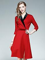 Damen Hülle Kleid-Ausgehen Lässig/Alltäglich Street Schick Solide V-Ausschnitt Knielang 3/4 Ärmel Baumwolle Herbst Hohe Hüfthöhe