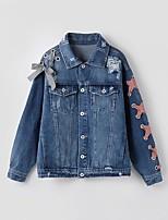 Giacca di jeans Da donna Casual Semplice Primavera Autunno,Tinta unita Con stampe Colletto Altro Standard Manica lunga Collage Traforato