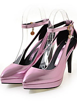 Women's Shoes PU Spring Fall Comfort Novelty Heels Stiletto Heel Pointed Toe Buckle For Wedding Party & Evening Blushing Pink Silver Gold
