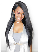 Women Human Hair Lace Wig Lace Front Glueless Lace Front 180% Density Straight Wigs Malaysian Hair Black Long
