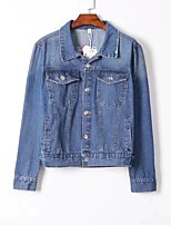 Women's Going out Casual/Daily Simple Spring Fall Denim Jacket,Print Shirt Collar Long Sleeve Regular Others