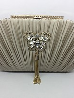 Women Bags All Seasons Metal Evening Bag Crystal Detailing for Event/Party Champagne Gold Black Silver Drak Red