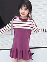 Girl's Casual/Daily Striped Dress,Cotton Modal Spring Fall Long Sleeve