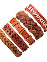 Homme Bracelets Bracelets en cuir Mode Pierre Cuir Forme Ronde Bijoux Pour Halloween Sortie
